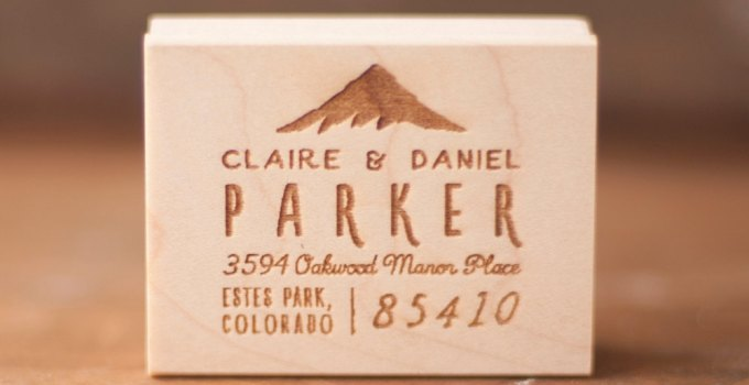 custom mountain address stamp