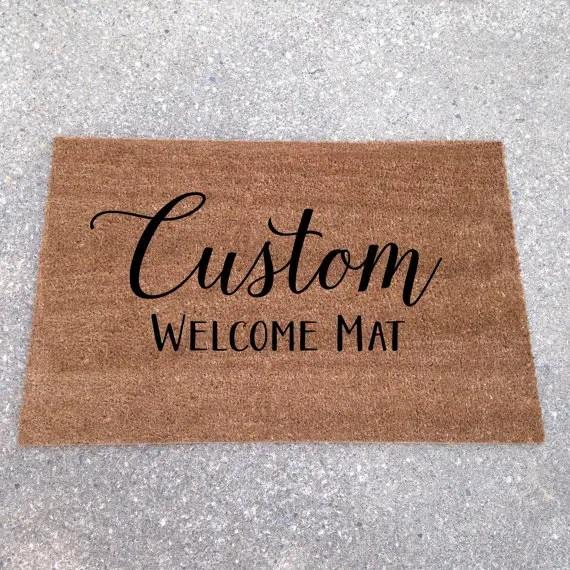 custom welcome mat | custom doormats etsy find from lorustique http://emmalinebride.com/gifts/custom-doormats-etsy/
