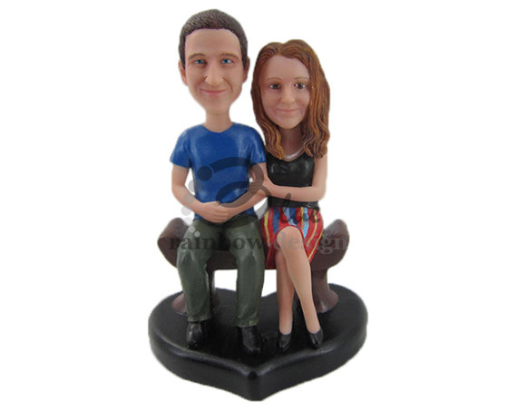 cute couple on bench - Custom Wedding Bobbleheads for Cake Toppers & Gifts