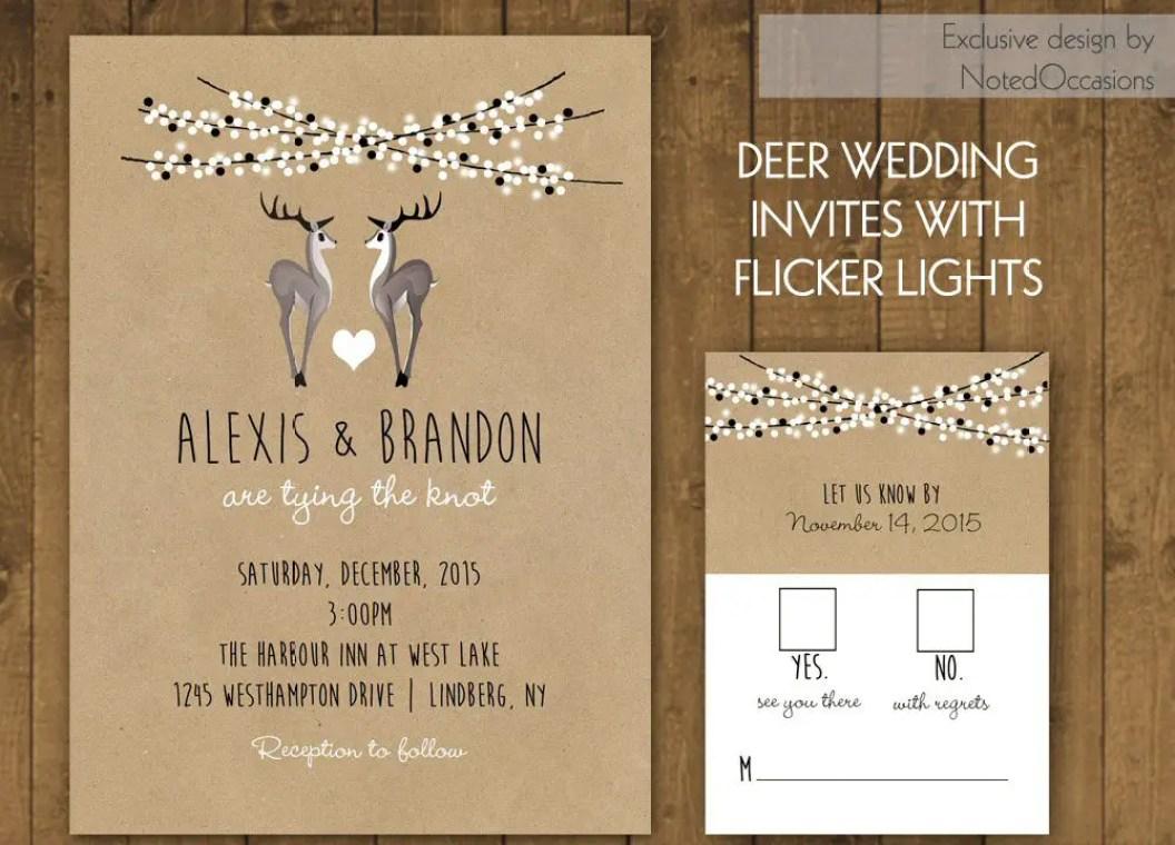 deer winter wedding invitations 3