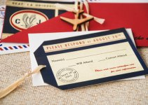 desination wedding invitations red white blue airmail
