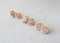 druzy earrings in rose