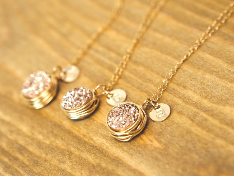 druzy necklaces etsy find - from Davie and Chiyo - via http://emmalinebride.com/bridesmaids/druzy-earrings-etsy/