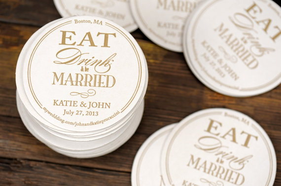 eat drink be married wedding coaster