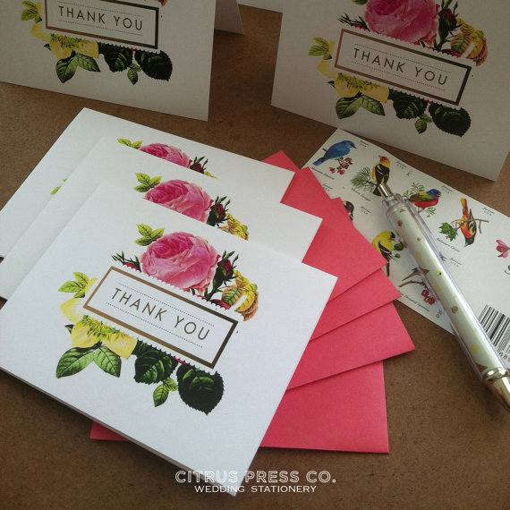 flora botanical thank you notes