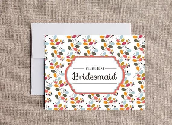 floral design be my bridesmaid card