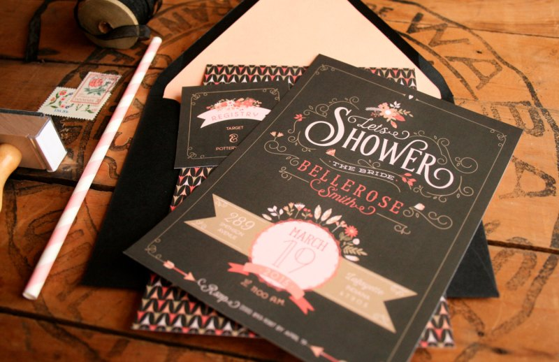 floral tribal bridal shower invitations