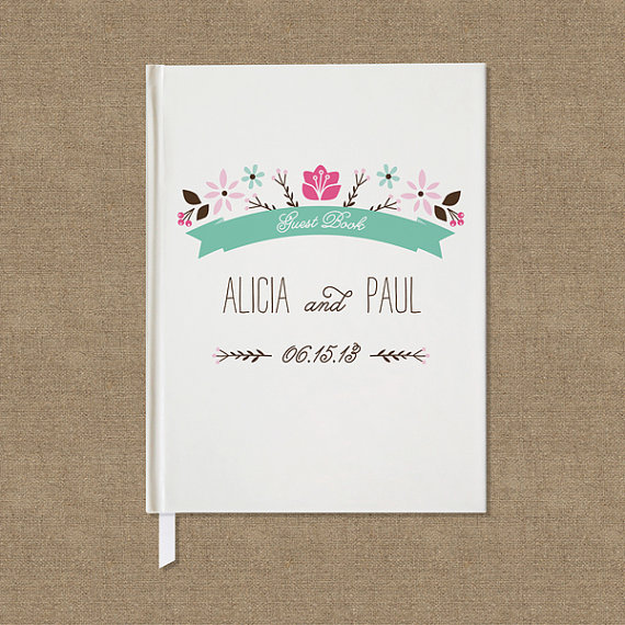 Custom Wedding Guest Book - by Crafty Pie Press - floral