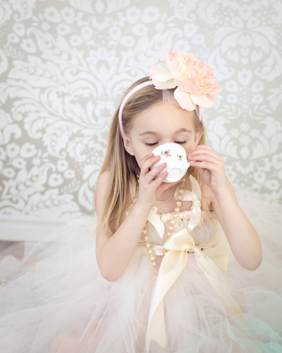 Flower Girl Drinking Tea (dress by Had and Harps) - What Does a Flower Girl Do? via EmmalineBride.com