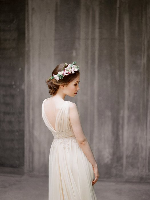 flowy chiffon wedding dress right