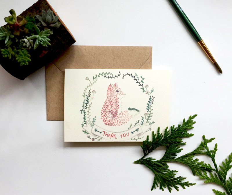 fox thank you cards by paintedforestpaperie