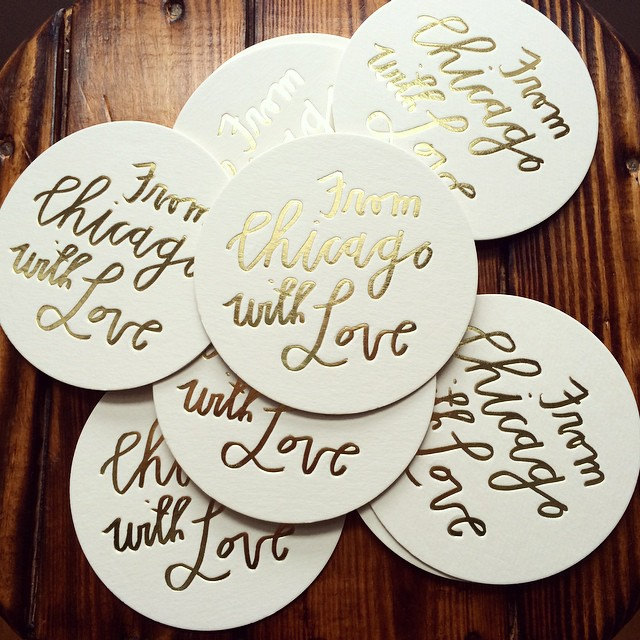 from chicago with love wedding coasters