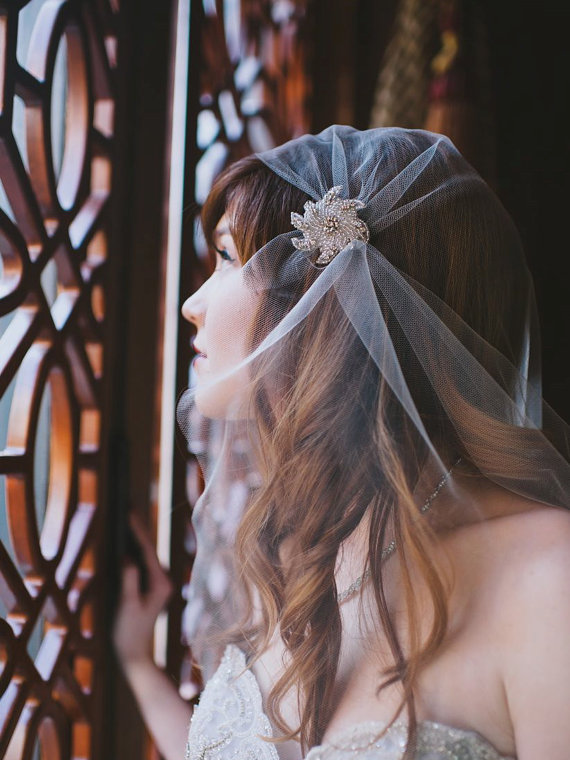 Art Deco Inspired Bridal Veil (by Gilded Shadows, photo by Heidi Ryder, model Haley O'Conner) - Gatsby / 1920s Hair Accessories