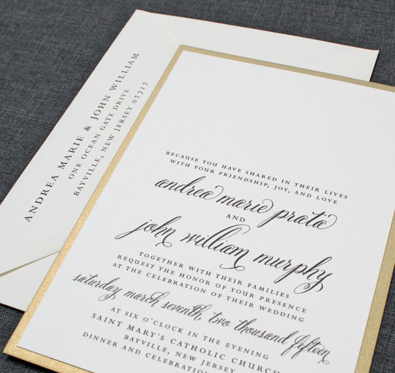 Cream and Gold Wedding Ideas: Gold Invitation (by Cricket Printing)