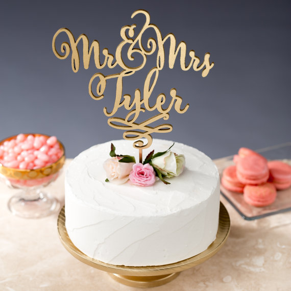 gold writing cake topper