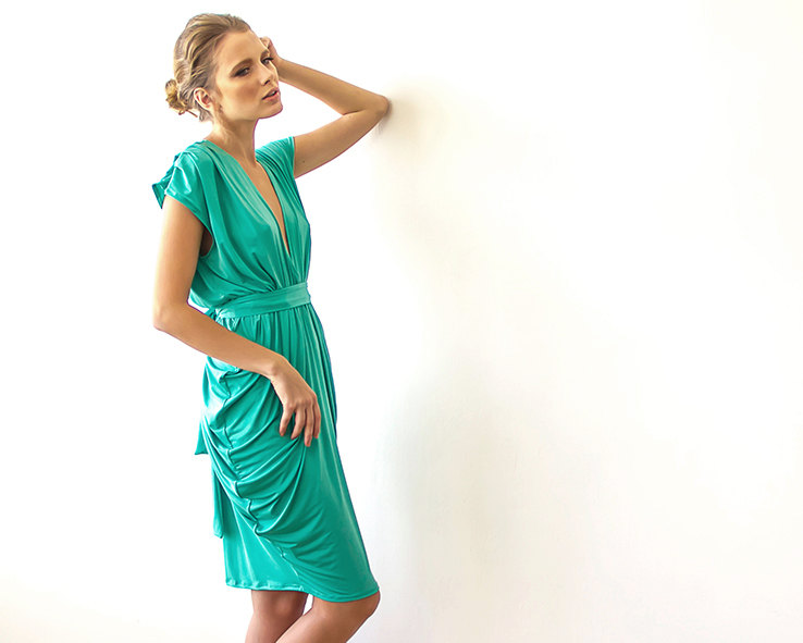 green short maxi dress