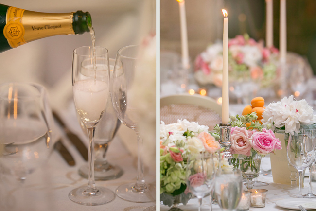 champagne and table decor at Connecticut waterfront wedding - photo: Melani Lust Photography | via http://emmalinebride.com