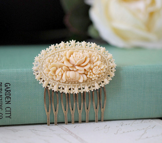 handmade wedding hair comb (lechaim) via The Marketplace at EmmalineBride.com