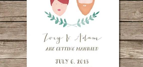 hand-painted portrait wedding invitations
