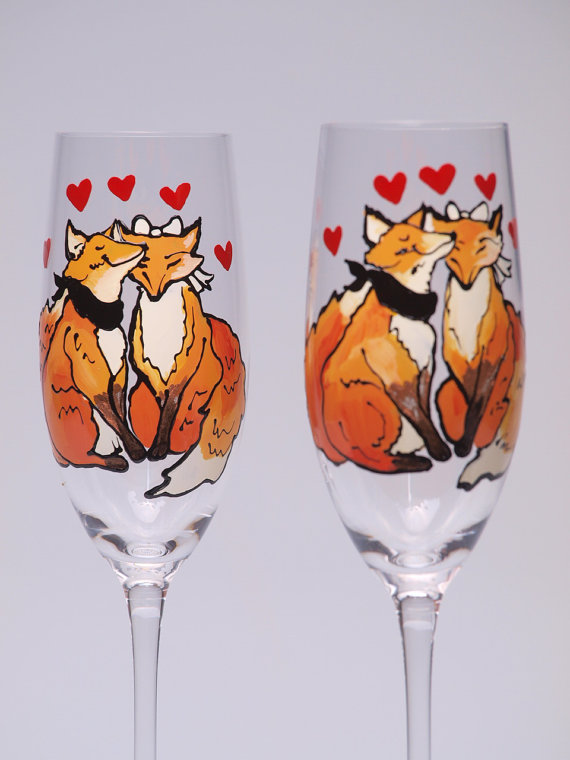 handpainted fox champagne flutes by patinshs