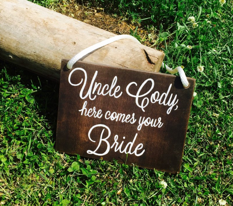 here comes your bride sign by starry night signs