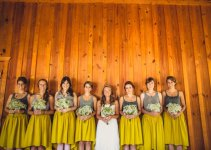 hi low mustard bridesmaid skirts