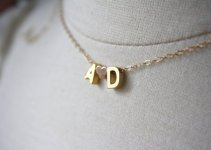 initials necklace with heart