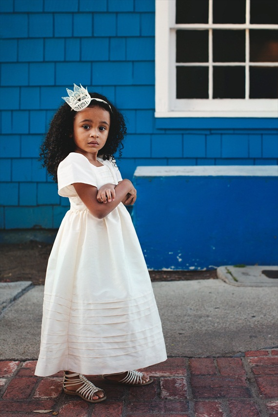 ivory dress (love the hair crown, too!) - spring flower girl dresses #wedding