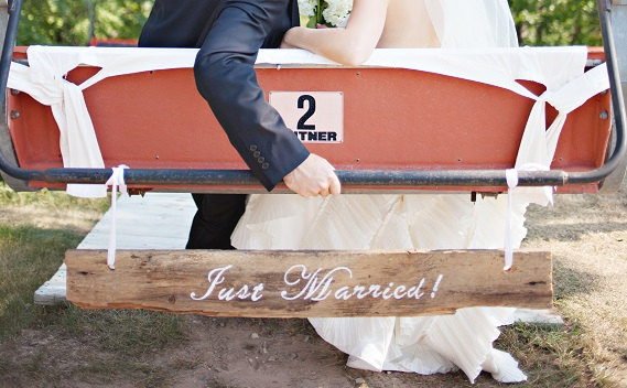 just married barn wood sign   via bride and groom chair signs http://emmalinebride.com/decor/bride-and-groom-chairs/