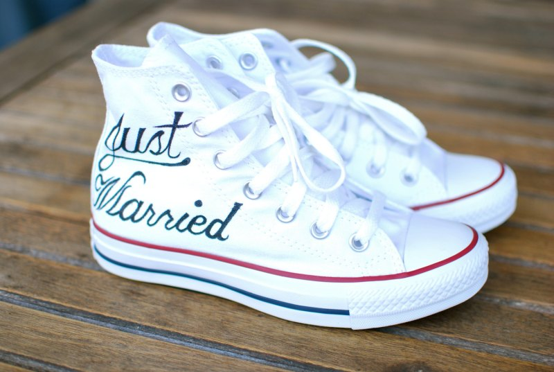just married white converse wedding shoes