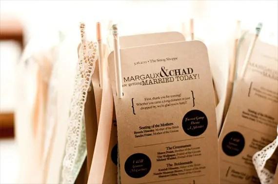DIY Wedding Ideas: Kraft Paper Ceremony Programs (by Harmony Creative Studio), photo by Meghan Christine Photography