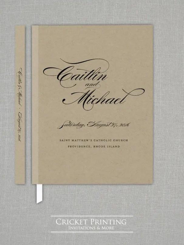 traditional kraft wedding guest book