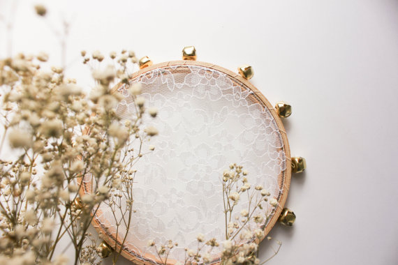 lace flower girl tambourine