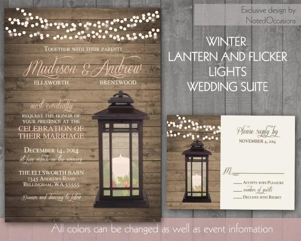 lantern winter wedding invitations