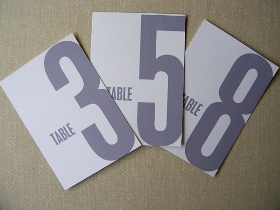 Modern Table Numbers for Weddings (by 2BSquared via EmmalineBride.com)