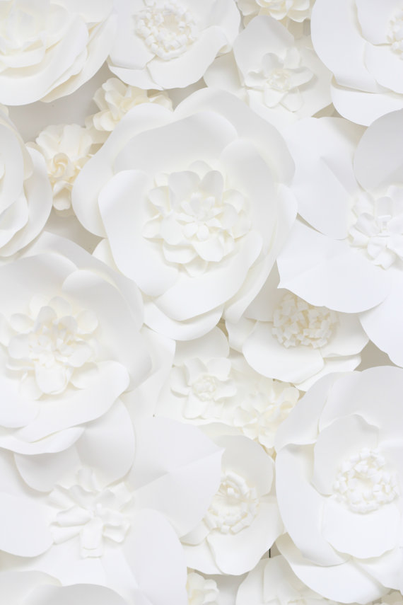 white paper flower wall for decorating your reception hall