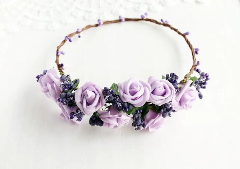 Lilac Rose | Flower Girl Hair Crowns | http://emmalinebride.com/flower-girl/hair-crowns/