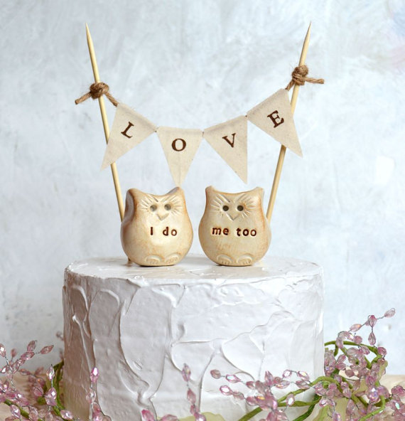 Handmade wedding cake topper featuring owls: 'I Do' and 'Me Too' with 'Love' cake banner.  By Skye Art.