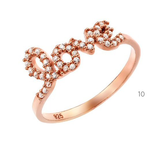 love rhinestone ring