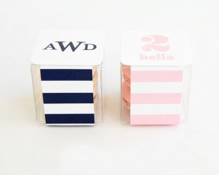 clear macaron box with colorful striped paper | via http://emmalinebride.com/favors/giving-macaron-favors/