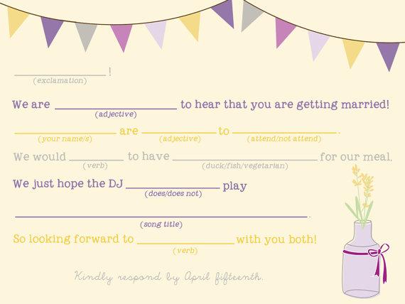 Mad Lib Wedding RSVP Card (by Splash of Silver) // RSVP mad libs #handmade #wedding