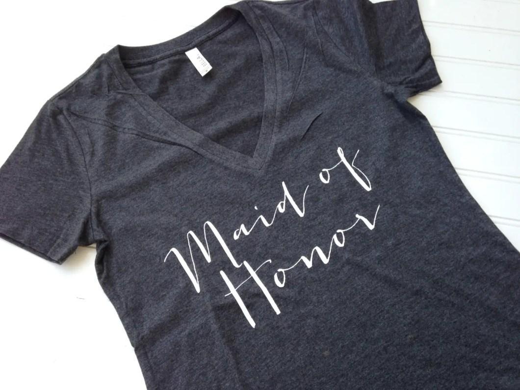 maid of honor tee | stylish bachelorette sash ideas | via http://emmalinebride.com/bride/bachelorette-sash-ideas/