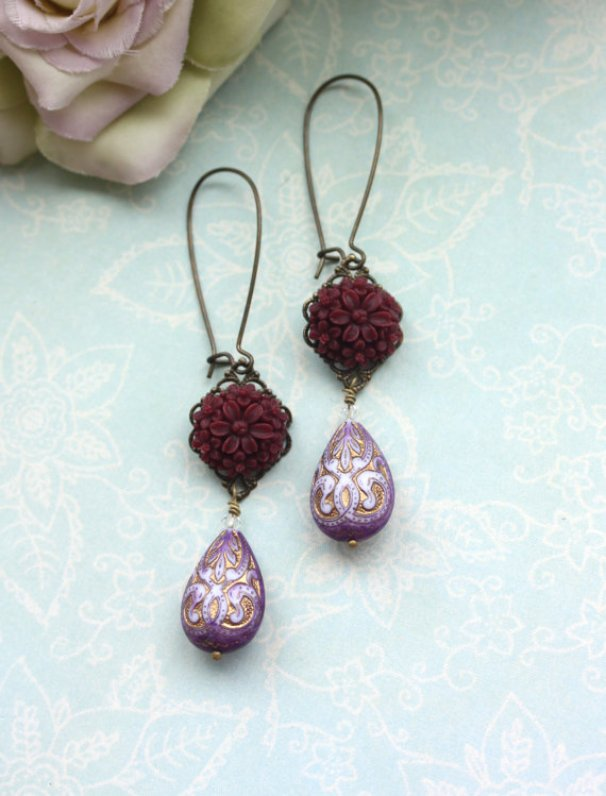 maroon and purple earringsearrings - moroccan wedding jewelry