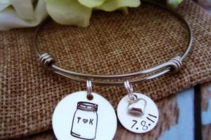 mason jar bracelet with wedding date