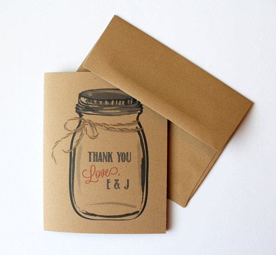 Mason Jar Thank You Cards - by Paperlaced