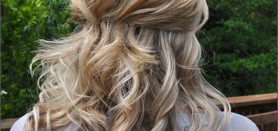 medium half up hairdo