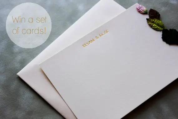 metallic letterpress thank you cards