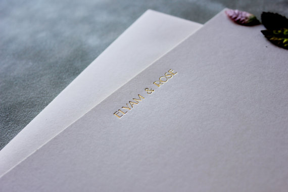 metallic thank you notes