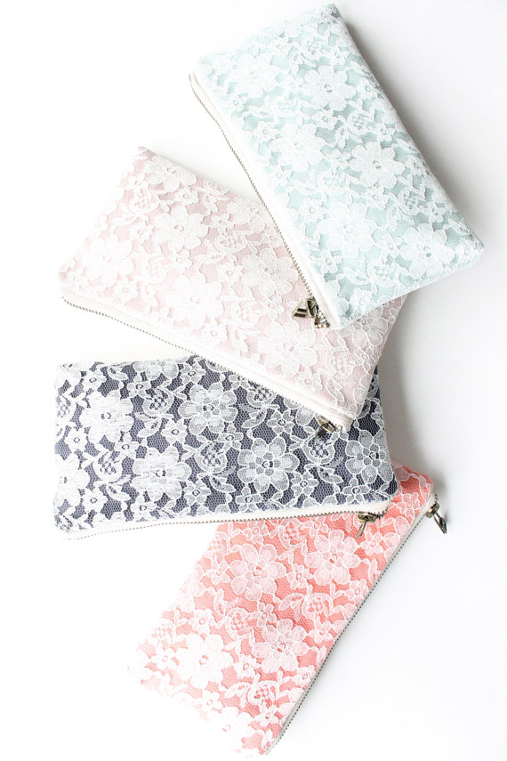 modern lace clutch purses (by allisa jacobs) via emmalinebride.com