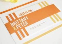 modern orange white invitations